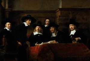The Sampling Officials of the Amsterdam Drapers' Guild, 1662; Rembrandt